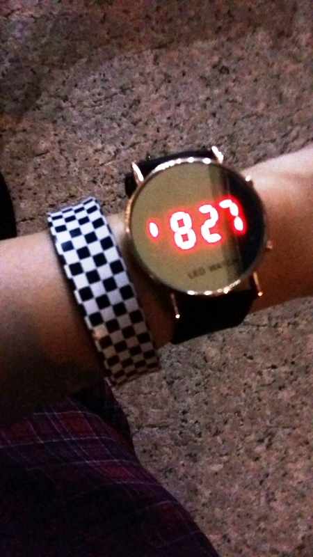 Counting down the minutes before QLF with my snazzy (and cheap!) new wristwatch.